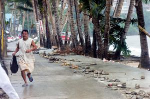 BORACAY, PHILIPPINES - NOVEMBER 8 2013: Super Typhoon Haiyan hits the central Philippines